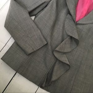 Anne Klein Jackets & Coats - Anne Klein gray ruffle blazer